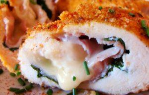 Жареная курица с сыром